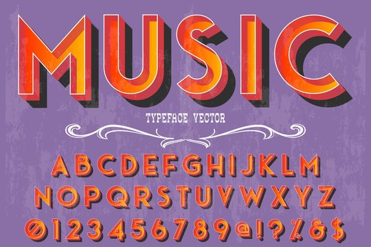 abc Vintage typeface Font handcrafted vector named vintage music