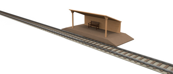Railway Countryside station 3D illustration