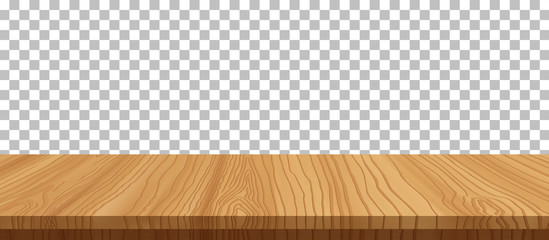 vector wood table top on transparent background.realistic wooden table, 3d. Element for your design, advertising.vector