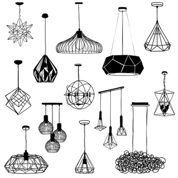 Set a hanging chandelier in the loft ,sketch by hand with contour lines. Vector illustration