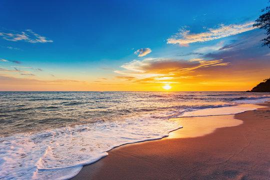 Beautiful Landscape Ocean Summer sunset Natural background