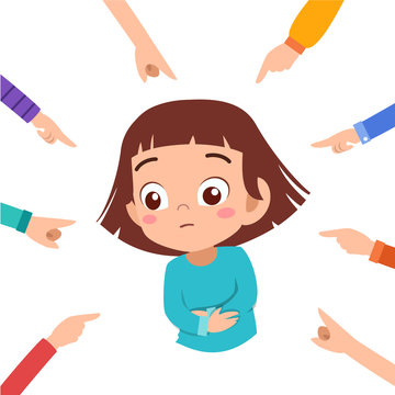 kid girl bullying vector illustration