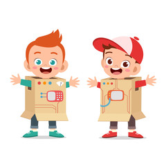 Two boys with costumes made of cardboard box illustration