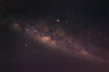 Milky Way Galaxy rising in Sabah Malaysia Asia. Image contain noise and grain due to high ISO. Image also contain soft focus and blur due to long exposure and wide aperture.