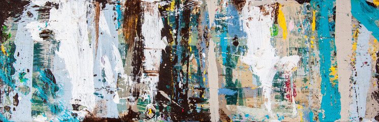 Poster Graffiti Abstract art with splashes of multicolor paint, as a fun, creative & inspirational background texture - in long panorama / banner.