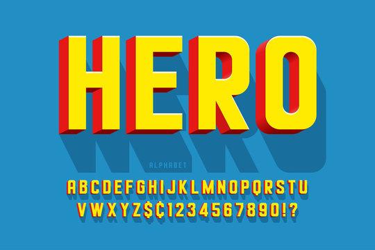 Trendy 3d comical font design, colorful alphabet, typeface