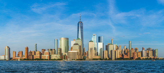 View to Lower Manhattan Skyline from Exchange Place in Jersey City at sunset. Fototapete