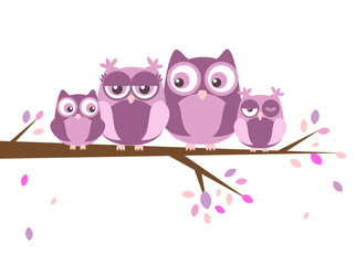Papiers peints Bestsellers Les Enfants Two owls on the tree.