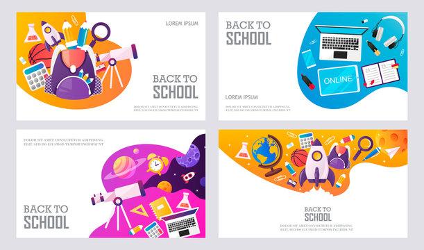 Back to school. Online learning. Start. Set of templates for banner, presentation, landing, sale, poster. Vector cartoon illustration.