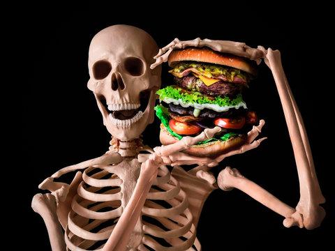 funny skeleton eating deadly junk food