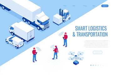 Isometric Mobile smart phone with mobile app delivery tracking. Smart logistics and transportation concept.