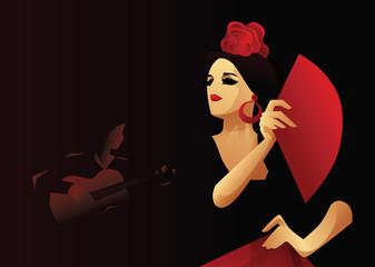 Spanish flamenco dancer with fan  with guitarist in accompaniment. Flamenco evening design