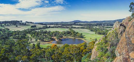 Wide panorama of scenic Australian countryside in Melbourne, Victoria