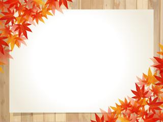 紅葉/水彩風フレーム/もみじ木目板