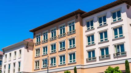 Exterior view of multifamily residential building; Santa Clara, San Francisco bay area, California