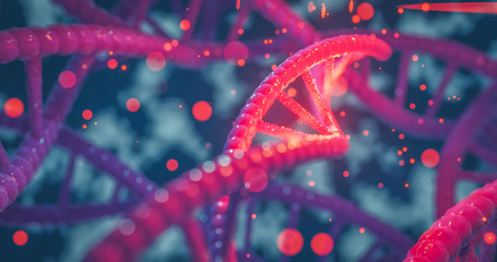 DNA helix colorful genes chromosomes   DNA sequence, DNA structure with glow. Science concept background 3d rendering