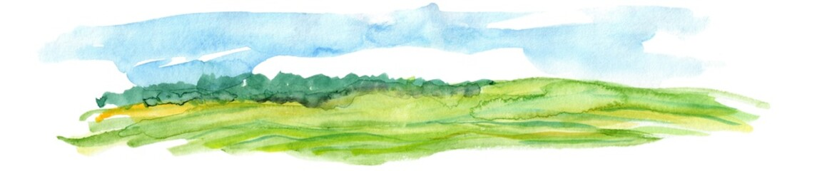 Deurstickers Wit Hand Drawn Watercolor Landscape