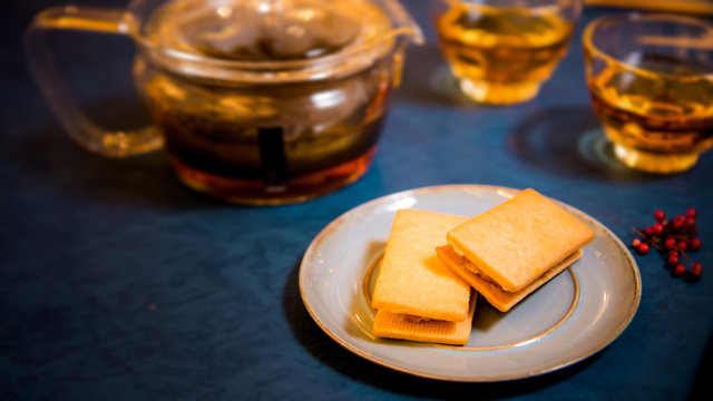 pineapple cake is famous traditional Taiwanese pastry (Moon cake, Mid-Autumn Festival )