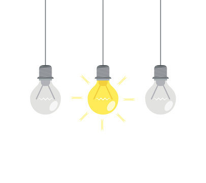 Bright idea and insight concept with light bulb. Vector illustration.