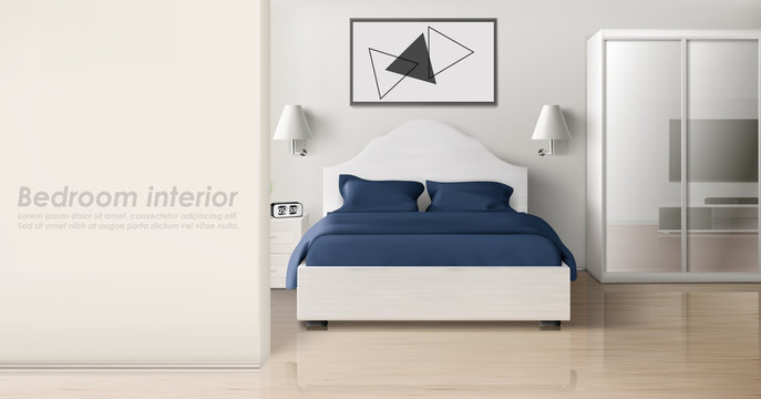 Bedroom interior in white blue colors, modern home or hotel empty apartment with double king size bed, wardrobe with mirror slide doors, TV, nightstands, lamps, clock. Realistic 3d vector illustration
