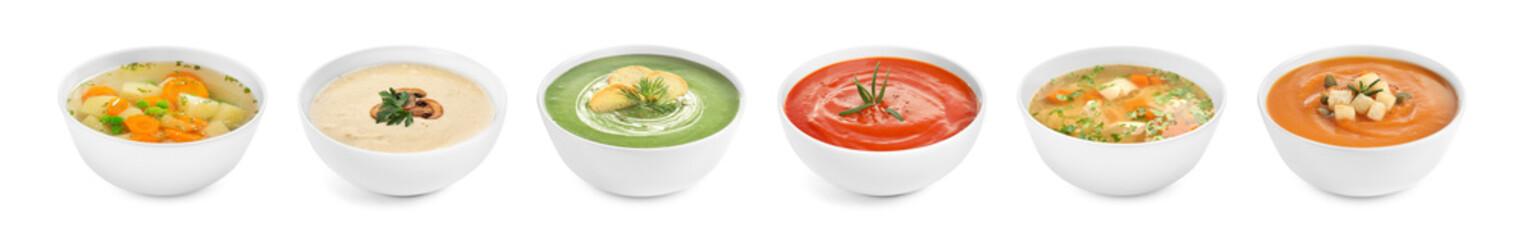 Fototapeta Set of different fresh homemade soups on white background. Banner design obraz