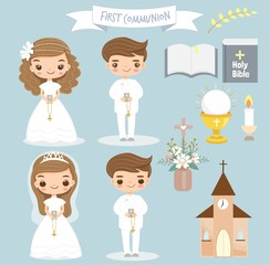 cute girl and boy making first communion clipart