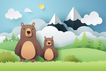 Paper craft of bear and forest Wall mural