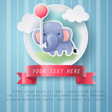 Paper craft of water color elephant greeting card
