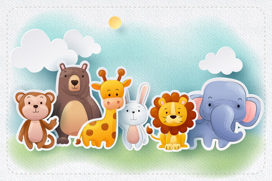 Paper craft of water color zoo animals greeting card