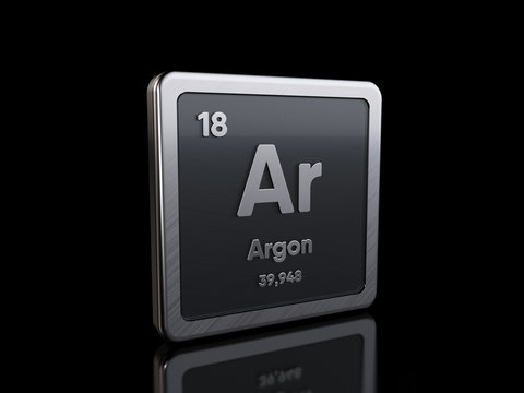 Argon Ar, element symbol from periodic table series. 3D rendering isolated on black background