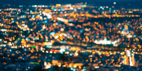 Blurred Bokeh Architectural Urban Backdrop. Background With Urban Defocused Lights