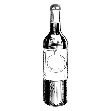 Hand drawn wine bottle. Engraving style. Isolated objects