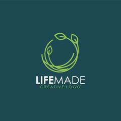 life made logo, life green logo, o life, o nest leaf logo icon art vector illustration design