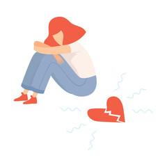Unhappy Teen Girl with Broken Heart, Teenager Puberty Problem Vector Illustration