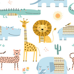 Seamless childish pattern with cute African animals. Scandinavian style kids texture for fabric, wrapping, textile. Vector illustration.
