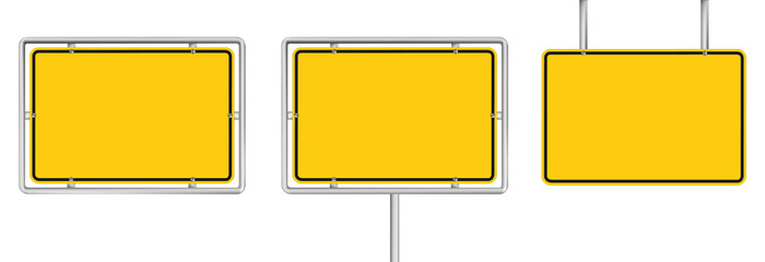 set of 3 blank yellow road sign isolated on white Fototapete