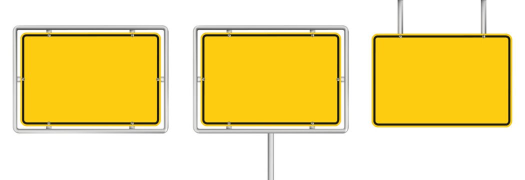 set of 3 blank yellow road sign isolated on white