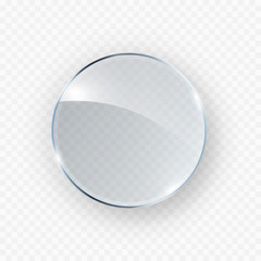 Obraz Glass, acrylic or plastic circle badge isolated on transparent background. Reflection 3d button, glare mirror. Vector glossy round icon. - fototapety do salonu