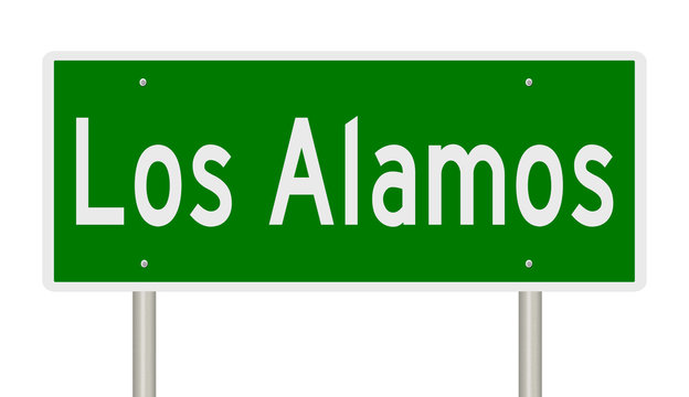 Rendering of a green highway sign for Los Alamos New Mexico