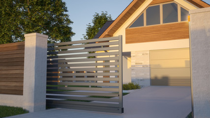 Automatic Sliding Gate and house, 3d illustration