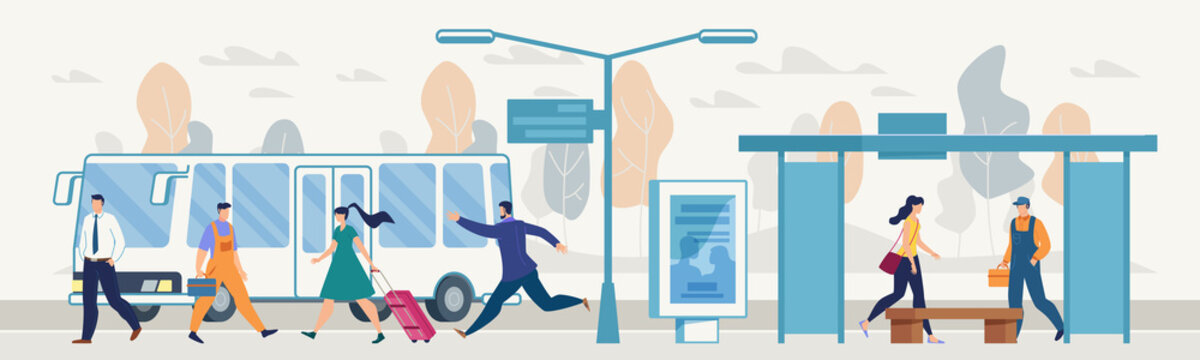 Passengers on City Bus Stop Flat Vector Concept