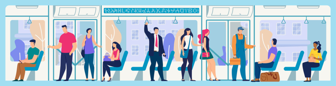 People on City Bus or Tram Flat Vector Concept