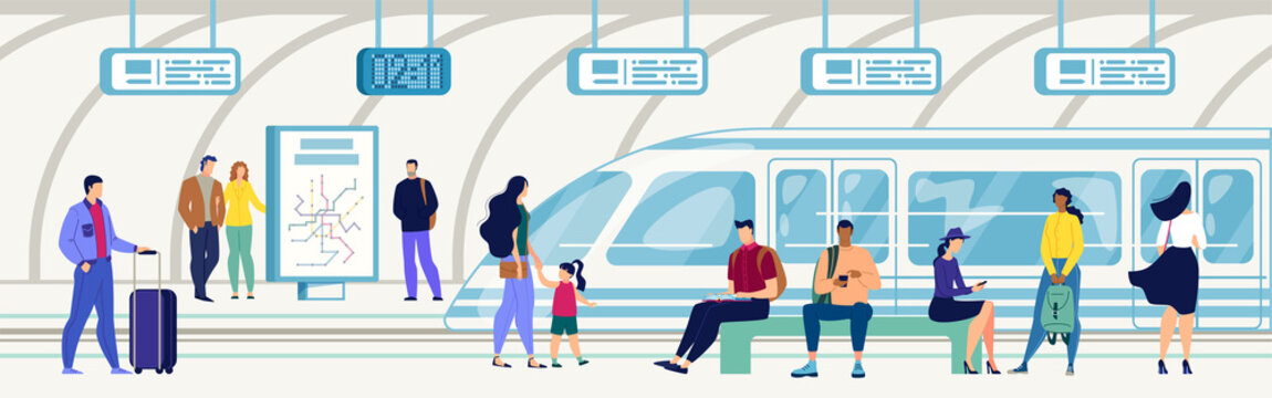 Passengers on Subway Station Flat Vector Concept