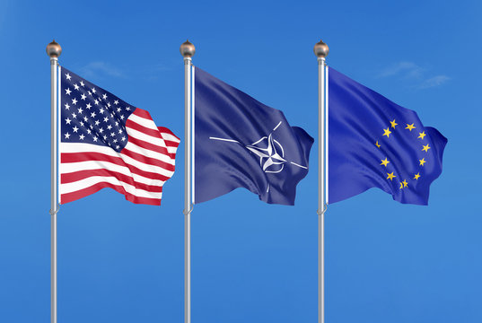 Three colored silky flags in the wind: USA (United States of America), EU (European Union) and Nato. 3D illustration.