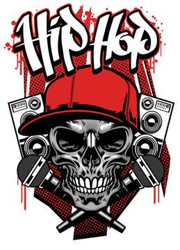 hip hop t shirt design with skull wearing cap