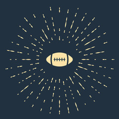 Beige American Football ball icon isolated on dark blue background. Abstract circle random dots. Vector Illustration
