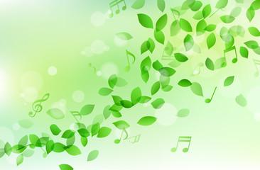 舞う緑の葉と音符 背景素材
