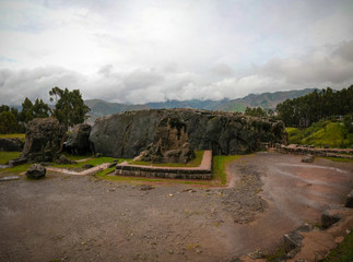 View to ruins of Qenqo or Kenko archaeological site at Cuzco, Peru