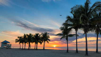 Sunrise at palm trees by the ocean beach in Key Biscayne, Florida