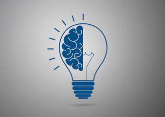 Logo with half light bulb and brain isolated on gray background. Symbol of creativity, concept of idea, mind, thinking. Wall mural